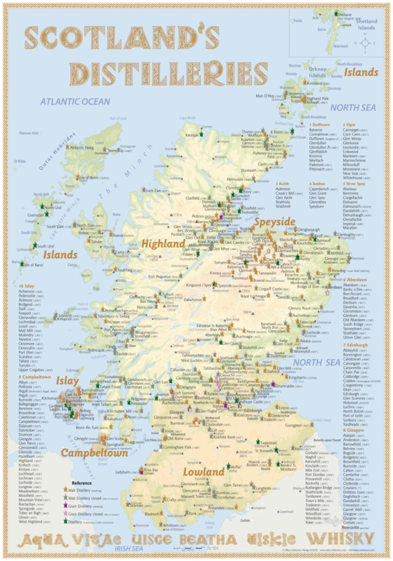 "Map ""Scotland's Distilleries"" 2021 Edition - Large - 70x100cm"