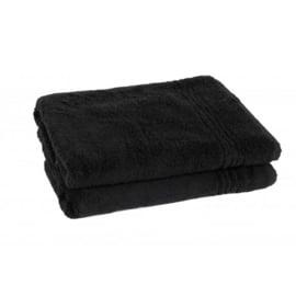 2 stuks badhanddoek zwart 70x140 cm