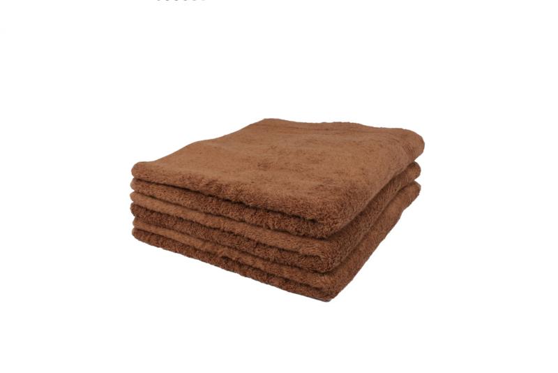 2 stuks badhanddoek bruin 70x140 cm