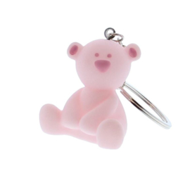 Sleutelhanger beertje op tule licht roze
