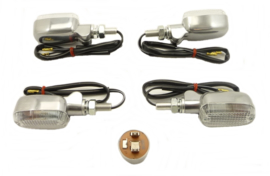 Universal Indicator kit polished alloy, clear lens & orange bulb (12 volt)