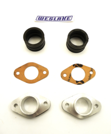 Weslake 500-950cc Twins Pair of inlet manifolds + rubber adaptors (W190)