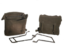 Pair of canvas luggage bags + frame & fittings as fitted to WD army bikes