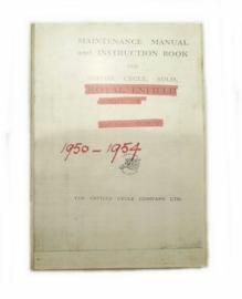 Royal Enfield Model G 350 cc OH Copy of original workshop manual 1950 - 1954
