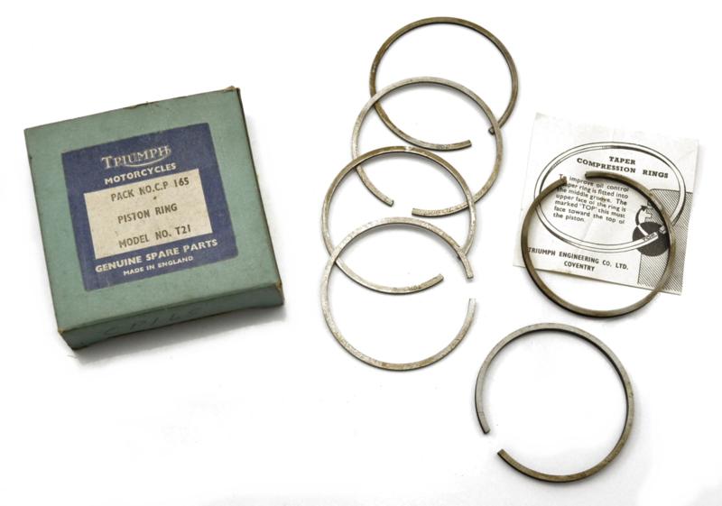 Triumph 3TA-Tiger 90 Genuine piston ring set STD size, Partno. CP.165 (E3690 - 91 - 92)