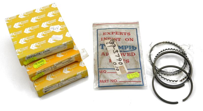 T140 Genuine piston ring set Std + Oversizes, Partno. 99-3789 etc