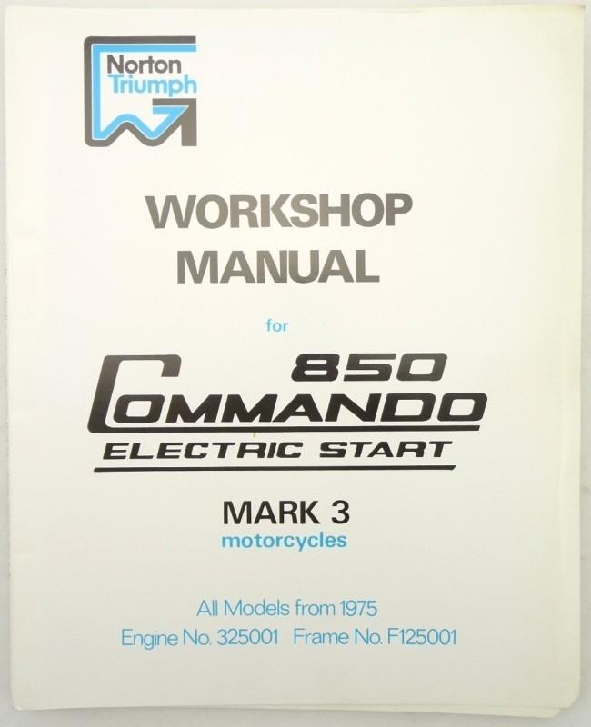 Norton Commando 850 ES Mk3 genuine workshop manual (00-4224)