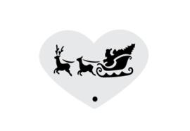 Mini stencil kerst rendier met slee