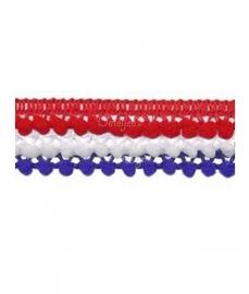 Mini pompomband set rood / wit / blauw
