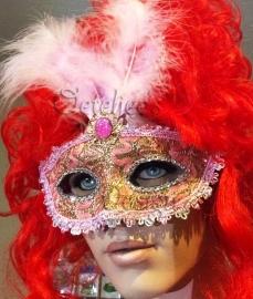 Venetiaans oogmasker barok roze