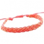 Armbandje goudkleurige ball chain gevlochten paparacha roze