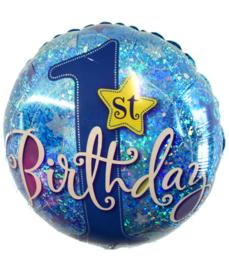 Folie ballon eerste verjaardag blauw