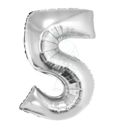 Folie ballon zilver cijfer 5 (100 cm)