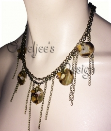 Luxe schelpen halsketting / collier oudbronskleur