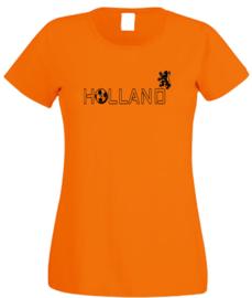 EK voetbal t-shirt dames oranje korte mouw Holland en leeuw