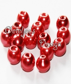 Glasparels rood rond 6 mm