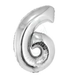 Folie ballon zilver cijfer 6 (100 cm)