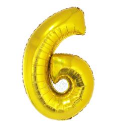Folie ballon goud cijfer 6 (100 cm)