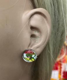 Oeteldonk rood wit gele oorbellen knopje met kikker