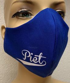 """Trendy mondkapje """"Piet"""" blauw met Piet print"""