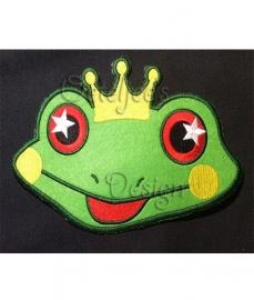 Smilende kikker met kroon groot (20 x 13 cm)