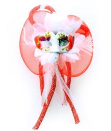 Brabant broche oogmasker rood/wit