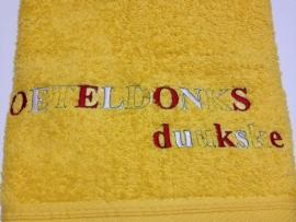 Borduren tekst op handdoeken