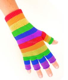 Vingerloze handschoen regenboogkleuren