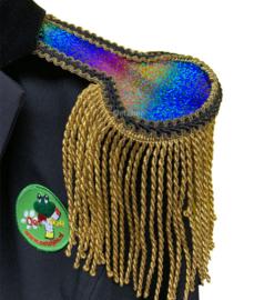 Epauletten luxe  regenboog glitter met goud franje