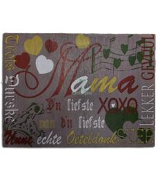 Houten bord Oeteldonkse Mama rood wit geel