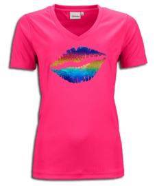 T-shirt  fuchsia roze maandag / gay pride met glitter rainbow lippen