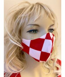 Trendy mondkapje Brabant rood/wit geblokt (m/v) no.16