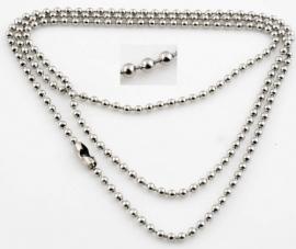 Metalen ball chain halsketting met verstelbare sluiting nikkelkleur