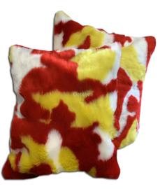 Oeteldonk kussenhoes rood wit geel bontje