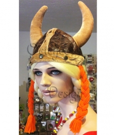 Hoed viking helm met vlechtjes (m/v)