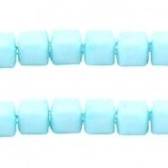 Acryl kralen facet kubus Licht azuur blauw
