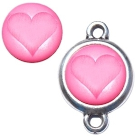 Polaris cabochon hart matt 15 mm Soft rose pink