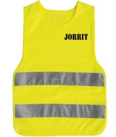 Kinder veiligheidsvestje fluor geel bedrukt met naam