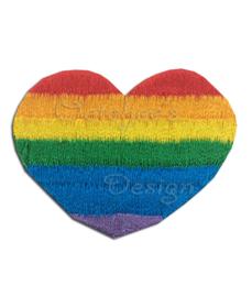 Geborduurde opstrijkbare applicatie regenboog hartje
