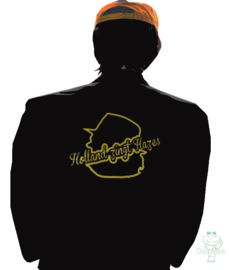 "Holland zingt Hazes colbert zwart met gouden metallic print, model ""slim fit"""