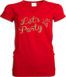 "Party t-shirt rood V hals met gouden glitter bedrukking ""Let's Party"""