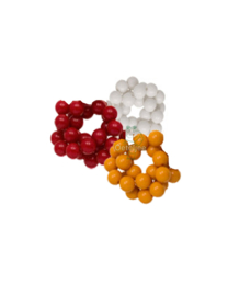 Acryl kralen OETELDONK rood wit geel 8 mm