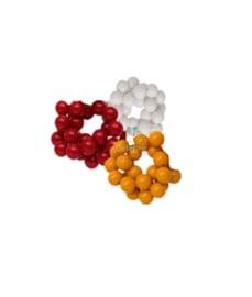 Acryl kralen rood wit geel 8 mm
