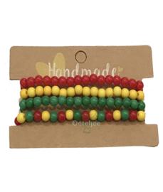 Armbanden set rood geel groen
