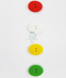 Basic knoop rood wit geel groen