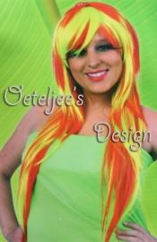 Pruik Lola (rood / neon geel)