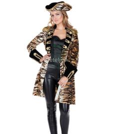 Carnaval jas tijgerprint dames
