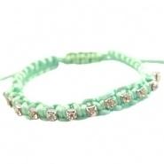Armbandje mint groen satijnkoord met strass