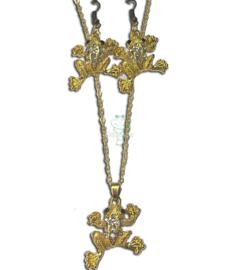 Set halsketting en oorbellen kikker strass goudkleur