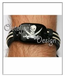 Armband - leer met doodshoofd (verstelbaar)